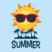 Summer poster palms sun glasses Piirros