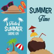 Flyers hello summer card shine one and coconut summer Stock Illustration