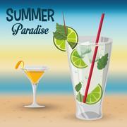 Summer paradise cocktails beach sunset Stock Illustration