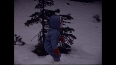 Little girl in first snow storm Stock Footage
