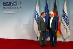 Federal Foreign Minister Dr Frank-Walter Steinmeier welcomes Igor Crnadak Stock Photos