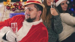 Unique man celebrating Christmas after hard work by Santa Claus Stock Footage