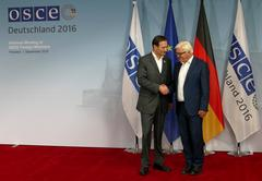 Federal Foreign Minister Dr Frank-Walter Steinmeier welcomes Miro Kovac Stock Photos