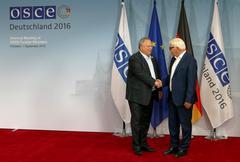 Federal Foreign Minister Dr Frank-Walter Steinmeier welcomes Nikos Kotsiaz Stock Photos