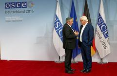 Federal Foreign Minister Dr Frank-Walter Steinmeier welcomes Andrei Galburm Stock Photos