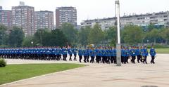 Honorary Guards units Army of Serbia marching at the plateau Stock Photos