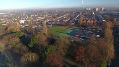 Aerial view of Wolverhampton, including a school playground. Stock Footage