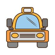 Yellow bus vehicule land transport travel Stock Illustration
