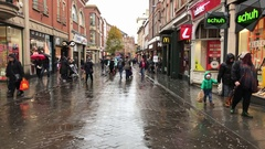 JD Sports, various shops. People shopping in rain, Nottingham. Stock Footage