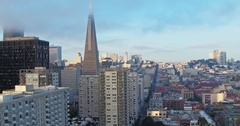 Aerial of San Francisco Skyline to transamerica building Stock Footage