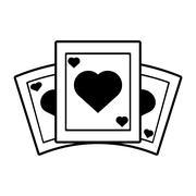Poker playing card gambling outline Stock Illustration