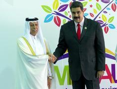 Qatar's Deputy Prime Minister Ahmad Abdullah Al Mahmoud and Venezuelan Pres.. Stock Photos