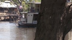 Paddle Steamer carrying tourists on the river Murray near the Port of Echuca Stock Footage