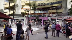 People in crowded Hollywood and Highland Mall in Los Angeles CA Stock Footage
