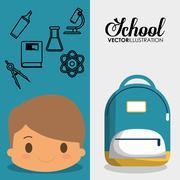 Cartoon boy bag chemistry elements school flyier Piirros