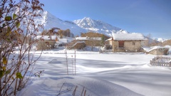 HDR motion timelapse of an alpine village, winter, alps, travel Stock Footage