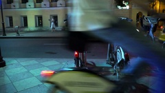 Concept - Healthy Lifstile and Modern Night Life. Night City Bicycle Parking Stock Footage