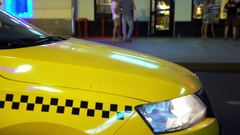 Sign of Taxi Cab. Concept - Modern life Stock Footage