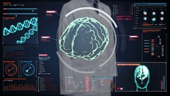 Doctor touching digital screen, Brain in digital display dashboard. X-ray view Stock Footage