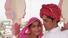 POV of selfie stick camera taking photo and video of Indian bride and groom in I Stock Footage