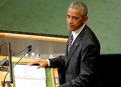 US President Barack Obama holds a speech, the General Assembly of the Unite.. Kuvituskuvat