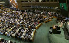US President Barack Obama holds a speech, the General Assembly of the Unite.. Stock Photos