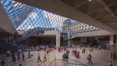Inside the glass pyramid of the Louvre (time-lapse) Stock Footage