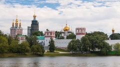 Novodevichy complex with clouds on background in Moscow, Russia Stock Footage