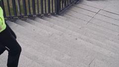 Senior Man Stair-Climbing Stock Footage
