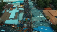 Aerial: Bangla road, many people celebrating Songkran. Stock Footage