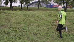 Senior Man Running Up and Down Hill Stock Footage