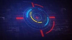 Hi-Tech Futuristic HUD Display Circle Elements Looping Animation 4K Stock Footage