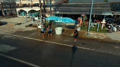 PHUKET, THAILAND April 14, 2016:Aerial:Pouring water on the Songkran. Arkistovideo