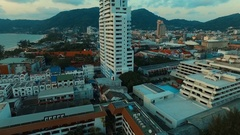 Aerial: High rise and buildings on Patong beach. Stock Footage