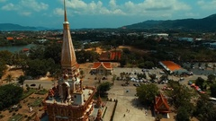 Aerial: Chalong temple on Phuket island. Stock Footage