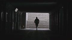 Senior Man Running Through Underpass Stock Footage