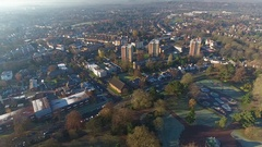 Aerial view of high rise tower blocks in Woverhampton, UK. Stock Footage