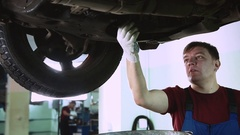 Replacement of engine oil in the vehicle Stock Footage