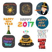 Happy New Year Signs and Icons Stock Illustration