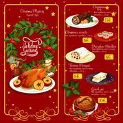 Christmas dinner menu festive template design Stock Illustration