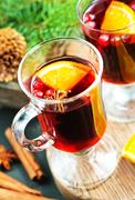 Christmas drink with fruits and aroma spice Stock Photos