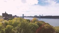NYC's George Washington Bridge - establishing shot - summer 2016 - 4k Stock Footage