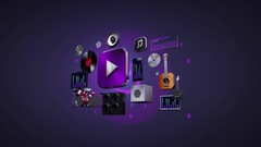 Listening mobile music, entertainment music player.3D icon animation. Stock Footage