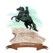 Russian travel sight icon with The Bronze Horseman Stock Illustration