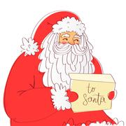 Santa Claus reads the letter Stock Illustration