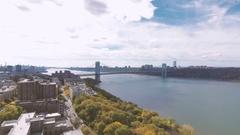 Aerial Drone footage of NYC's George Washington Bridge - 4k Stock Footage