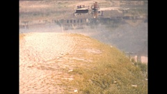 Vintage 16mm film, 1955 Germany big car drives onto ferry, scenery Stock Footage