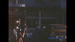 Vintage 16mm film, 1955 Germany rhinekrohn hotel, family gathered with balloons Arkistovideo