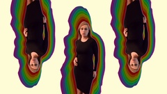 3 Opposing Model Dances Rainbow on Color Stock Footage