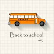 Back to school with sadness  - funny school bus inscription template Stock Illustration